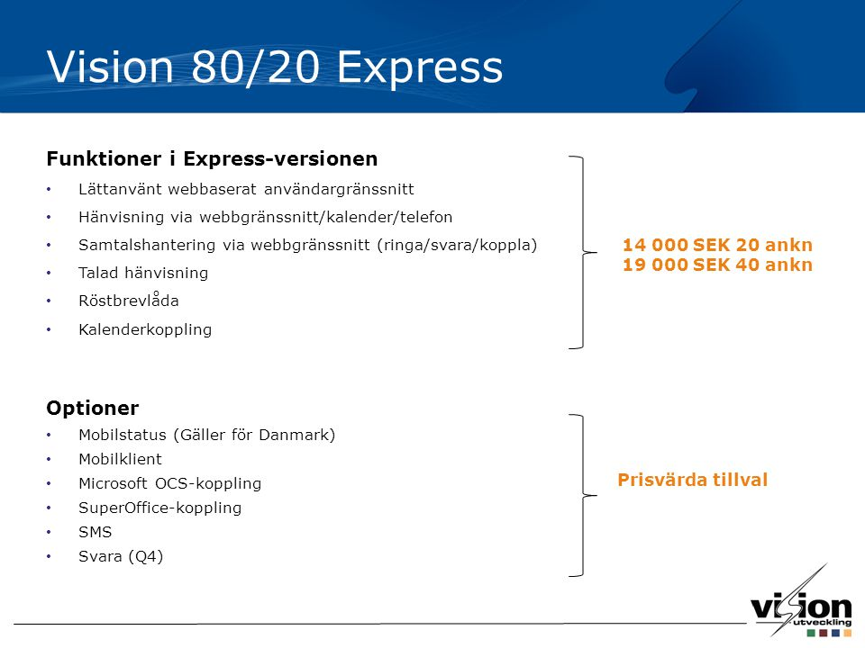Vision 80/20 Express Funktioner i Express-versionen Optioner