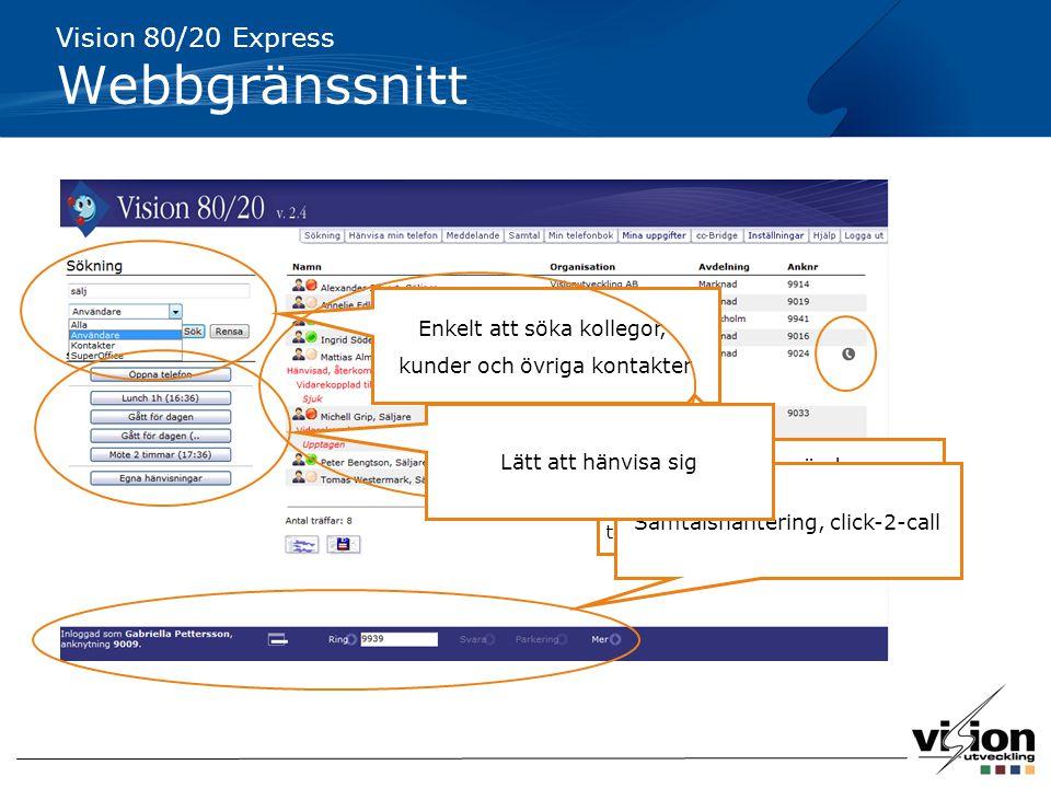 Webbgränssnitt Vision 80/20 Express Enkelt att söka kollegor,