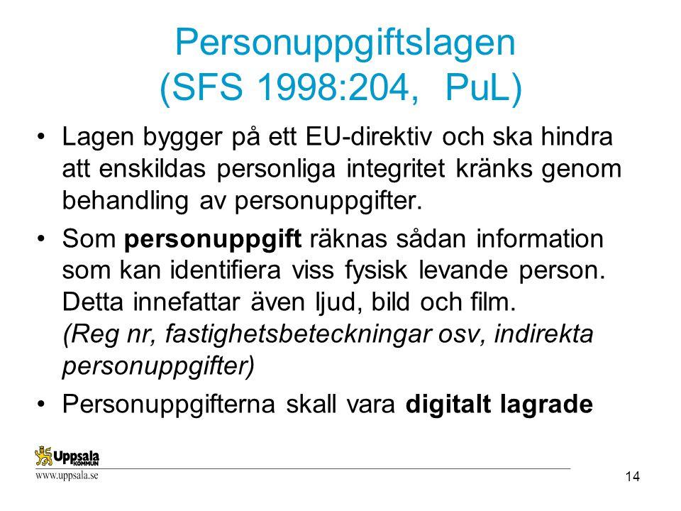 Personuppgiftslagen (SFS 1998:204, PuL)