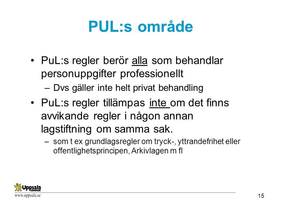 PUL:s område PuL:s regler berör alla som behandlar personuppgifter professionellt. Dvs gäller inte helt privat behandling.