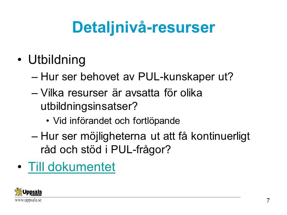 Detaljnivå-resurser Utbildning Till dokumentet