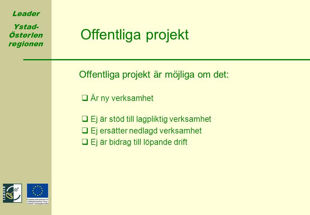 Offentliga projekt Offentliga projekt är möjliga om det: