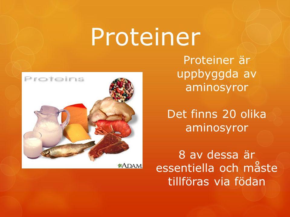 Proteiner Proteiner är uppbyggda av aminosyror