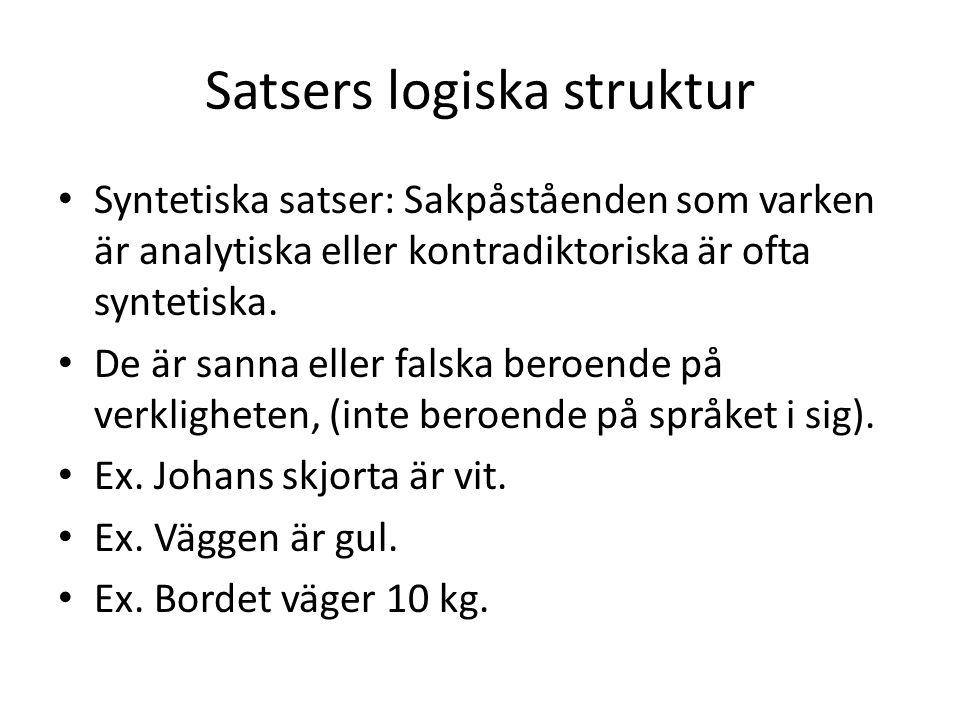 Satsers logiska struktur