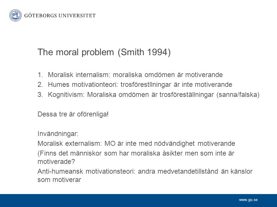 The moral problem (Smith 1994)