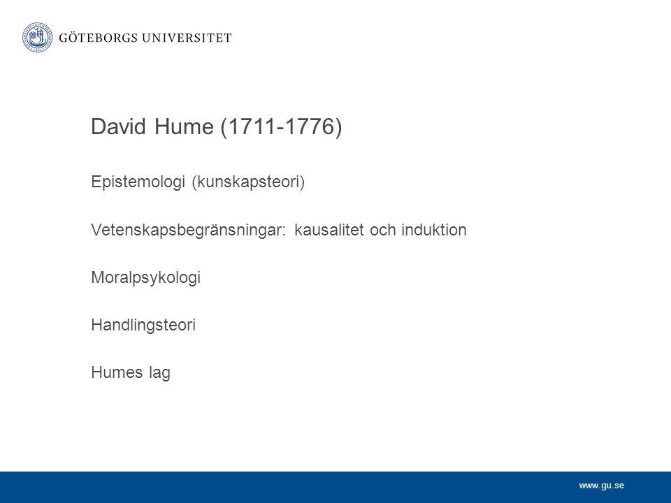 David Hume (1711-1776) Epistemologi (kunskapsteori)