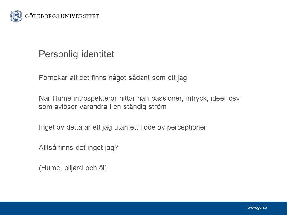 Personlig identitet Förnekar att det finns något sådant som ett jag