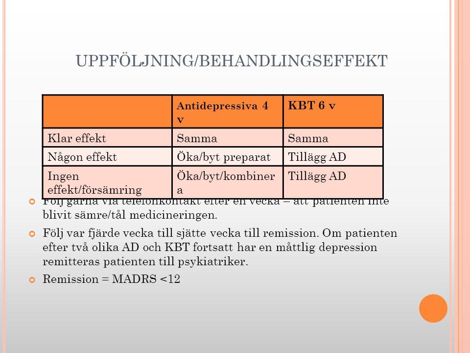UPPFÖLJNING/BEHANDLINGSEFFEKT