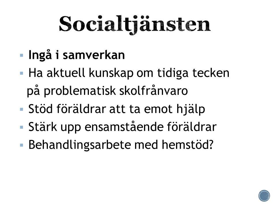 Socialtjänsten Ingå i samverkan Ha aktuell kunskap om tidiga tecken