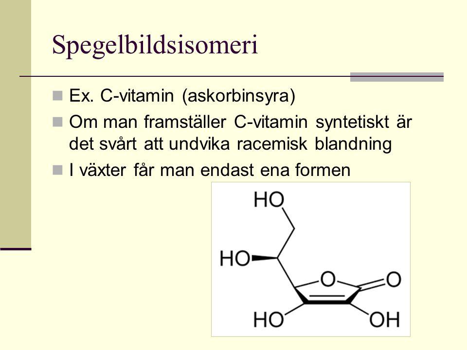 Spegelbildsisomeri Ex. C-vitamin (askorbinsyra)
