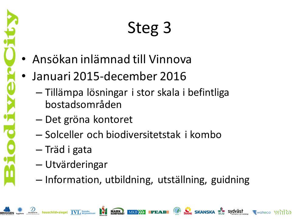 Steg 3 Ansökan inlämnad till Vinnova Januari 2015-december 2016