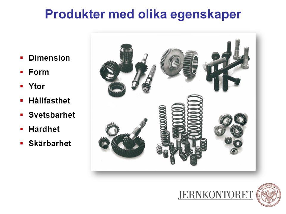 Produkter med olika egenskaper