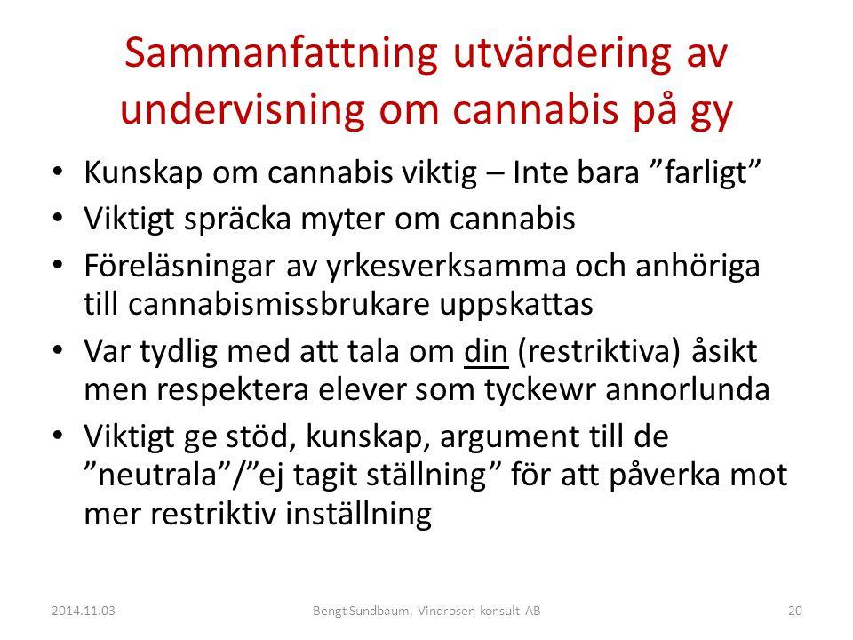 Sammanfattning utvärdering av undervisning om cannabis på gy