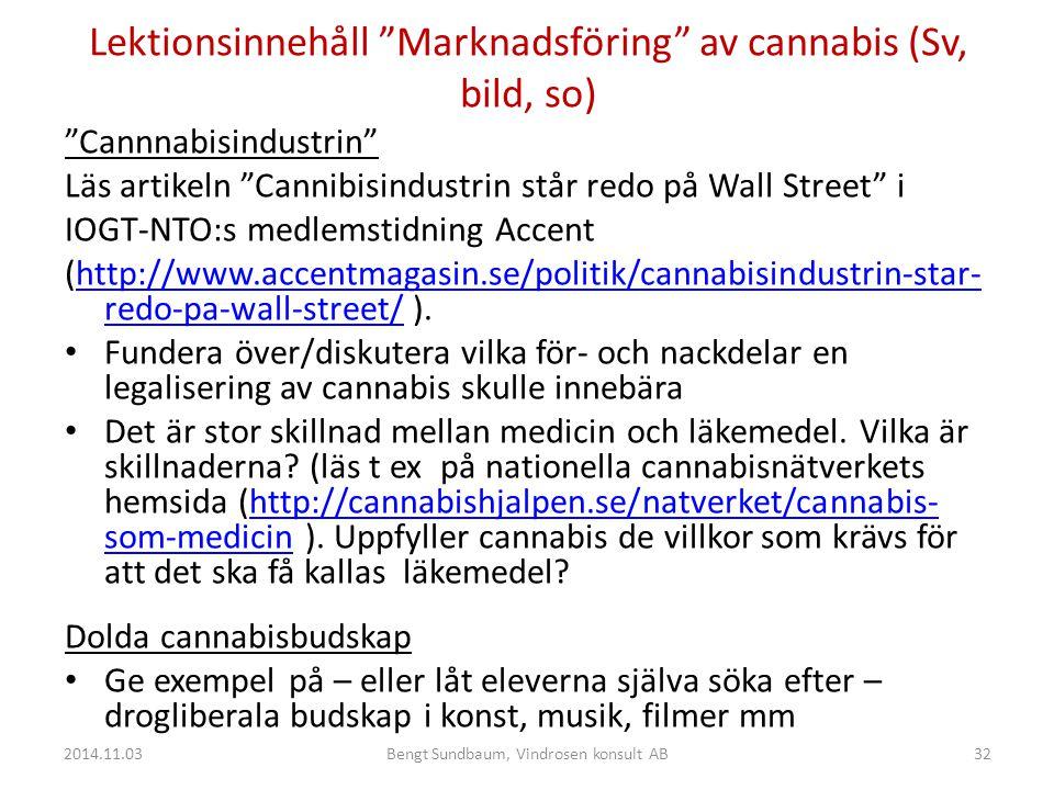 Lektionsinnehåll Marknadsföring av cannabis (Sv, bild, so)