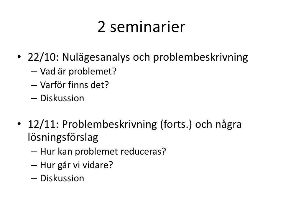 2 seminarier 22/10: Nulägesanalys och problembeskrivning