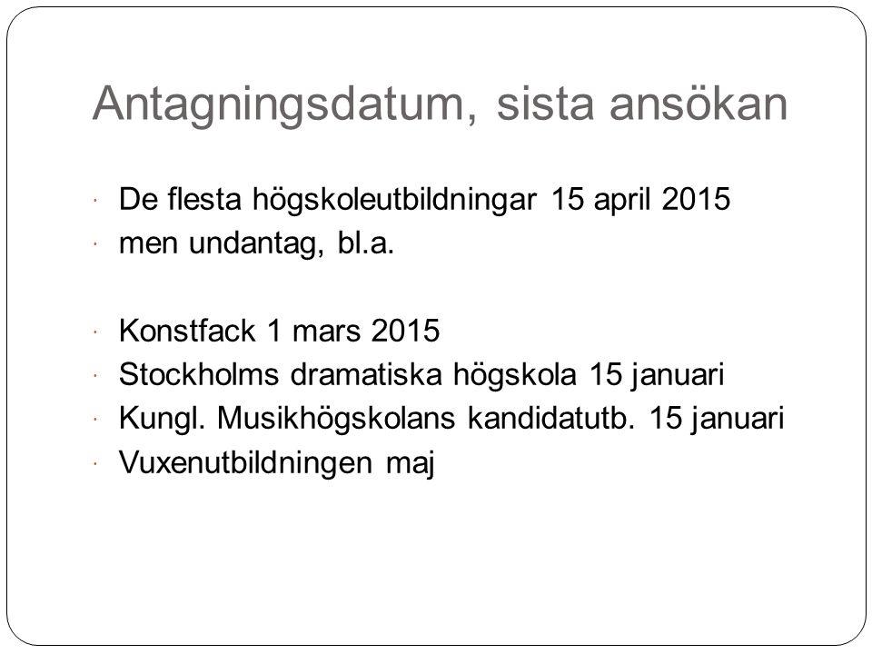 Antagningsdatum, sista ansökan