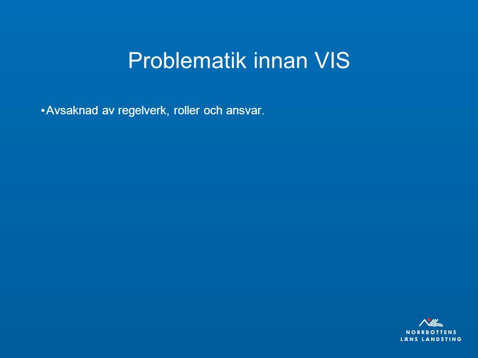 Problematik innan VIS Avsaknad av regelverk, roller och ansvar.