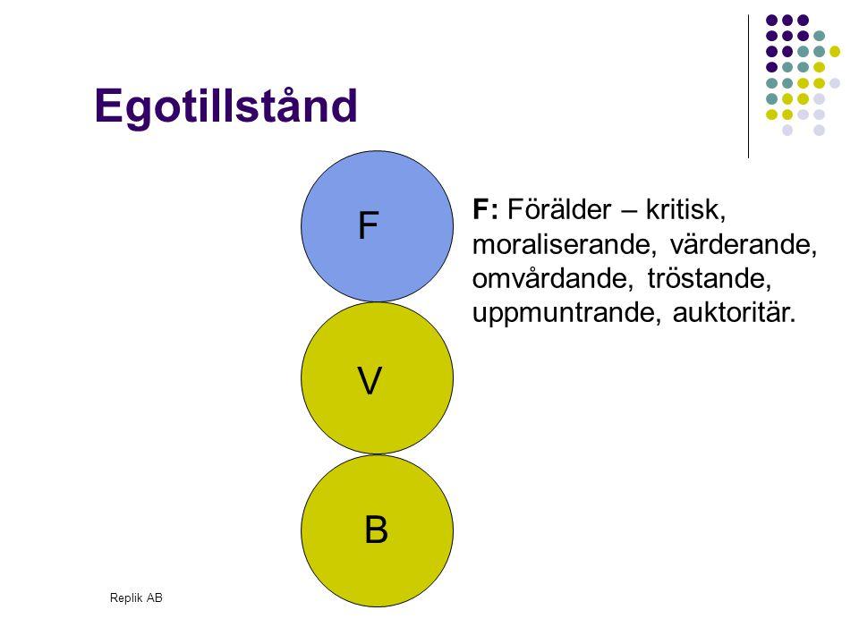 Egotillstånd F: Förälder – kritisk, moraliserande, värderande, omvårdande, tröstande, uppmuntrande, auktoritär.