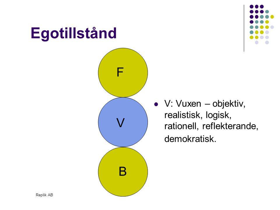 Egotillstånd F. V: Vuxen – objektiv, realistisk, logisk, rationell, reflekterande, demokratisk. V.