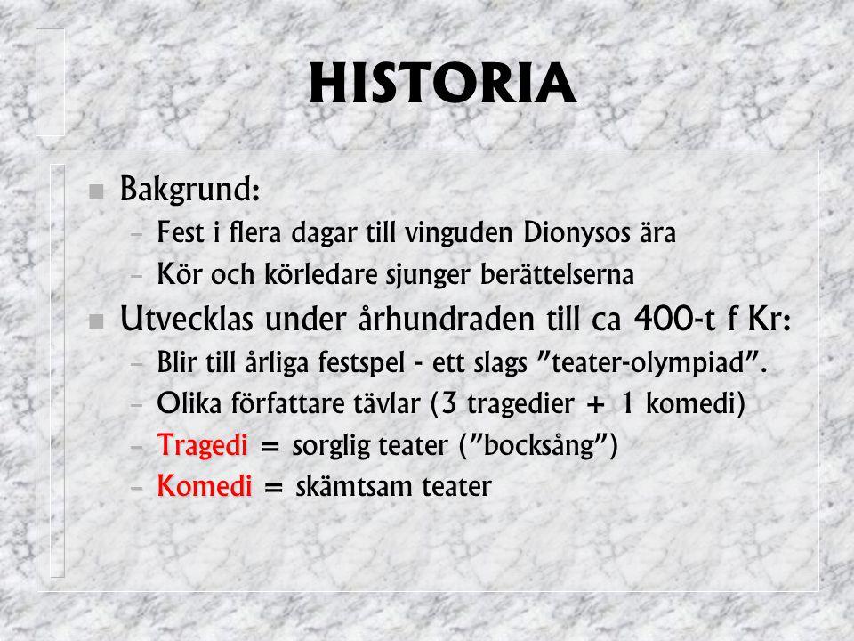 HISTORIA Bakgrund: Utvecklas under århundraden till ca 400-t f Kr: