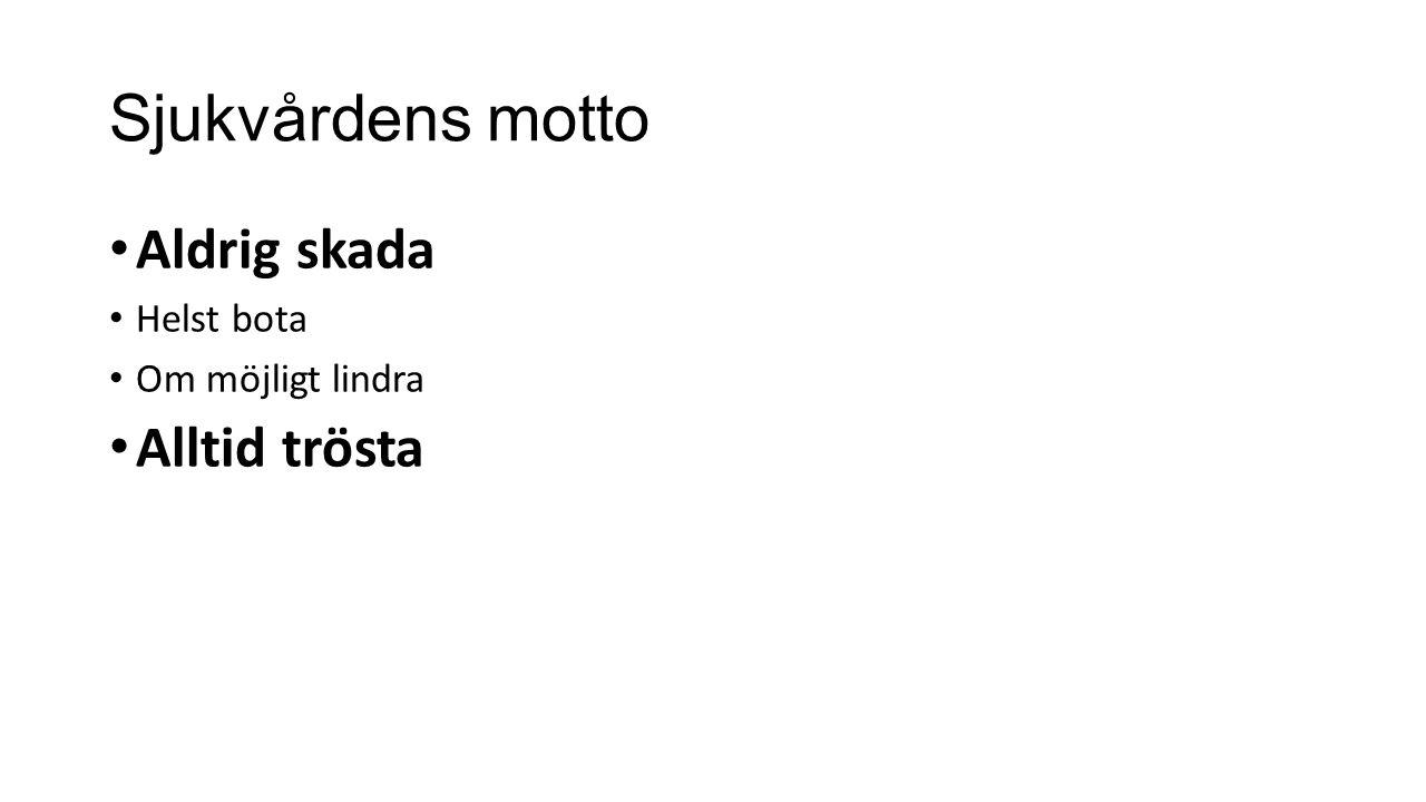 Sjukvårdens motto Aldrig skada Alltid trösta Helst bota