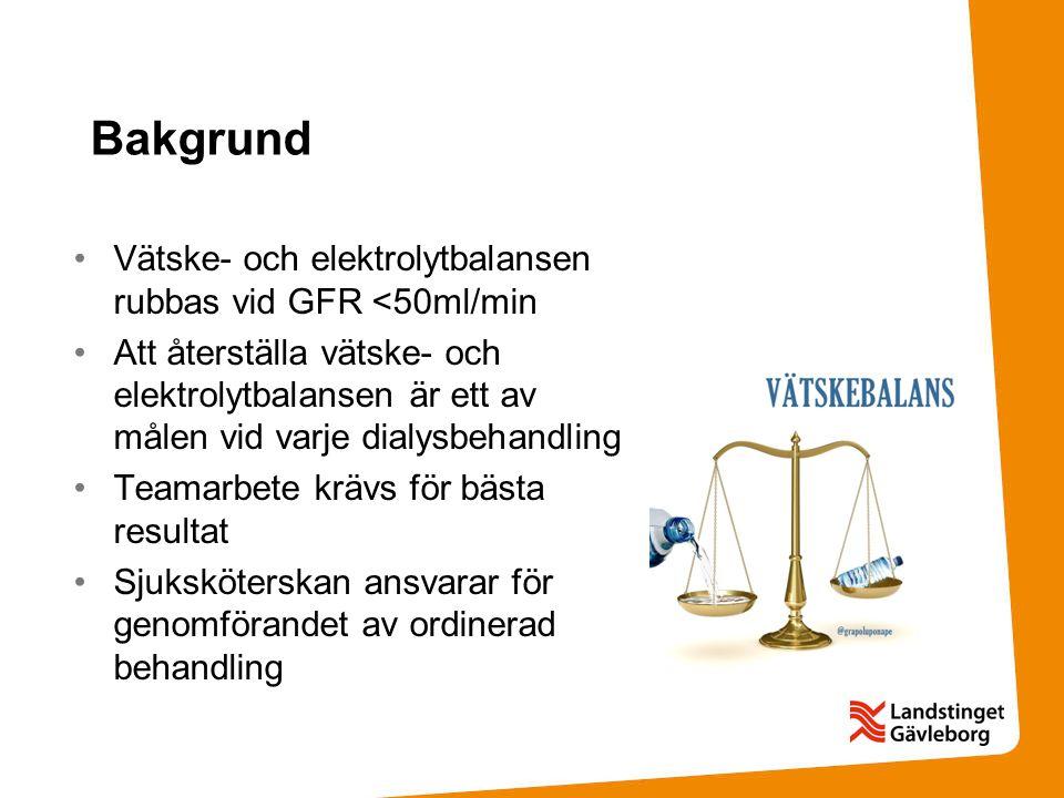 Bakgrund Vätske- och elektrolytbalansen rubbas vid GFR <50ml/min
