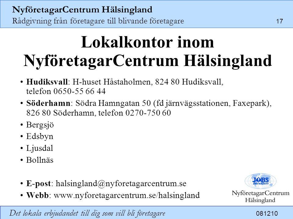 Lokalkontor inom NyföretagarCentrum Hälsingland