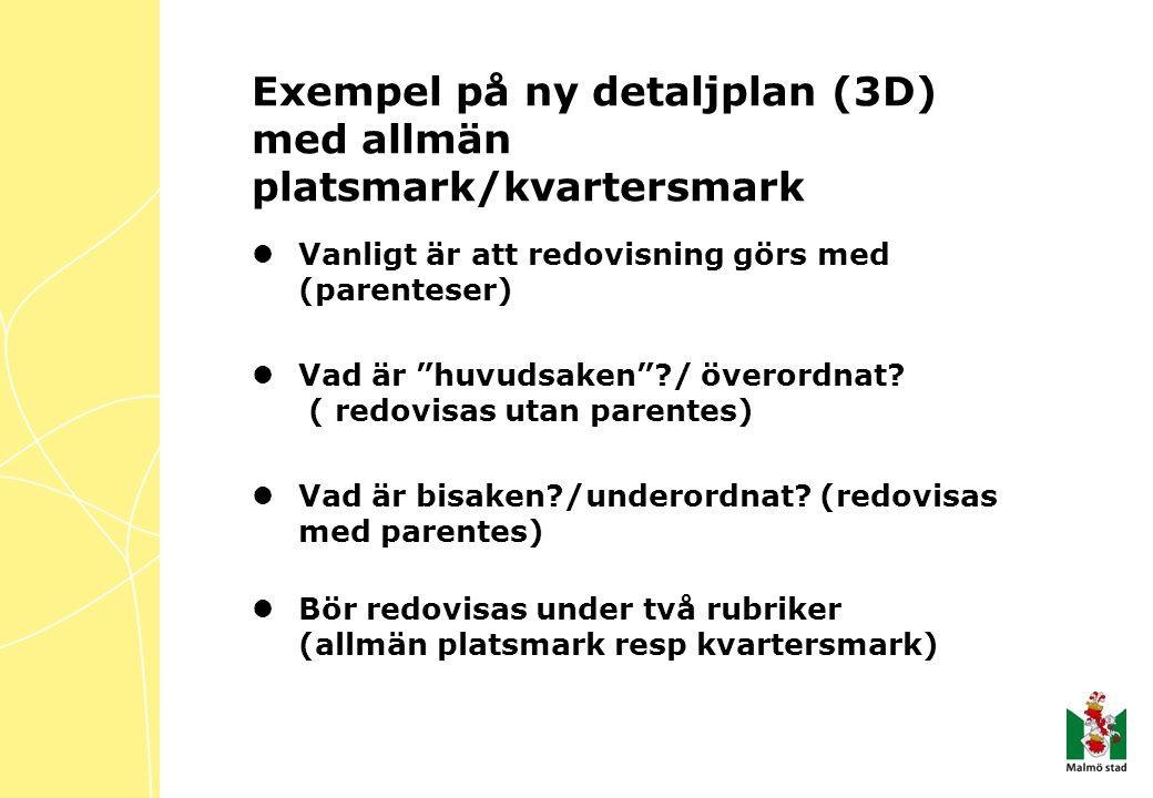 Exempel på ny detaljplan (3D) med allmän platsmark/kvartersmark