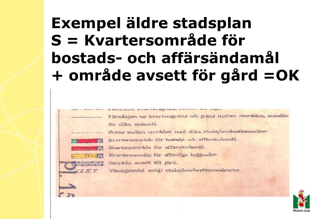 Exempel äldre stadsplan S = Kvartersområde för bostads- och affärsändamål + område avsett för gård =OK