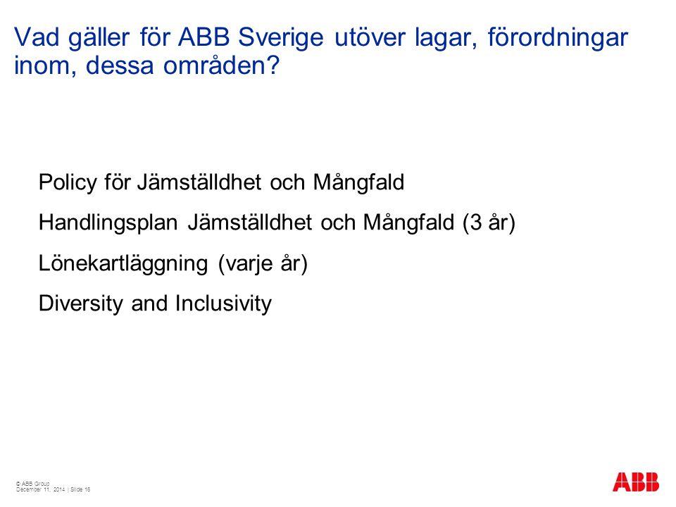 Vad gäller för ABB Sverige utöver lagar, förordningar inom, dessa områden