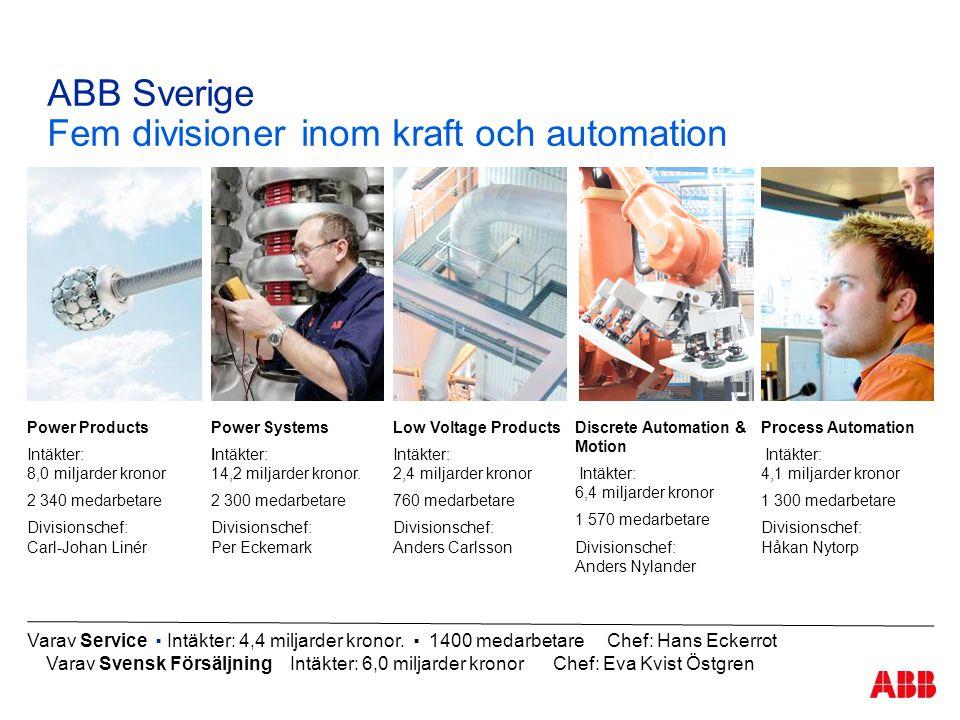 ABB Sverige Fem divisioner inom kraft och automation