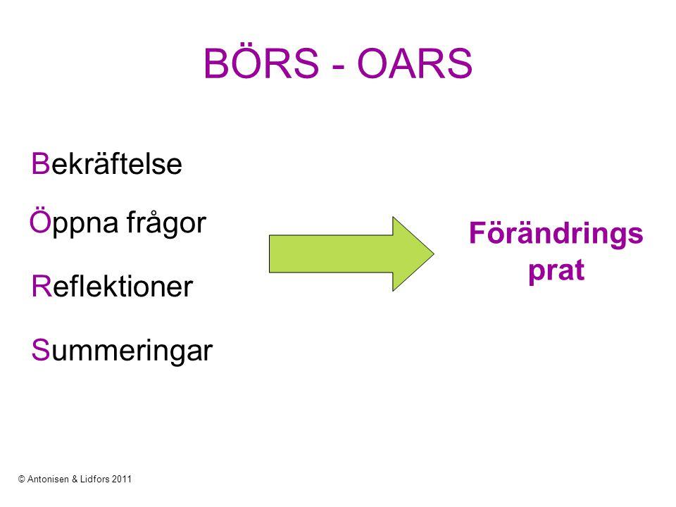 BÖRS - OARS Bekräftelse Öppna frågor Förändringsprat Reflektioner