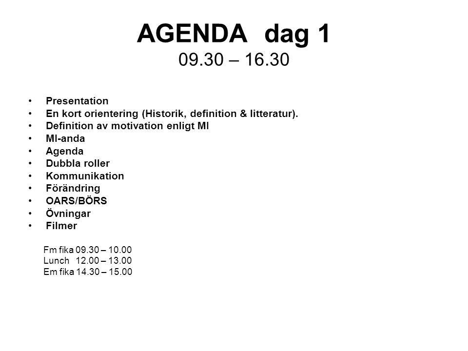 AGENDA dag 1 09.30 – 16.30 Presentation