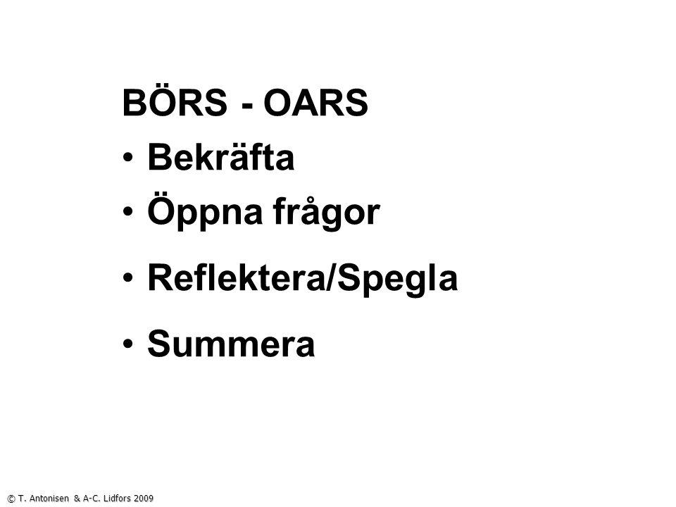 BÖRS - OARS Bekräfta Öppna frågor Reflektera/Spegla Summera