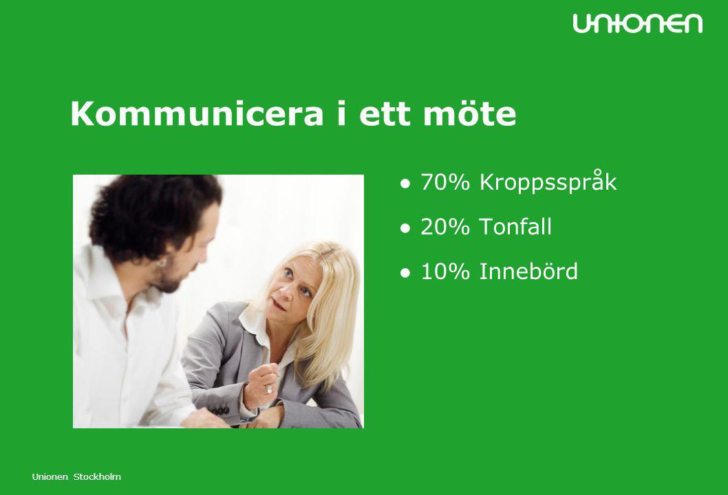 Kommunicera i ett möte ● 70% Kroppsspråk ● 20% Tonfall ● 10% Innebörd