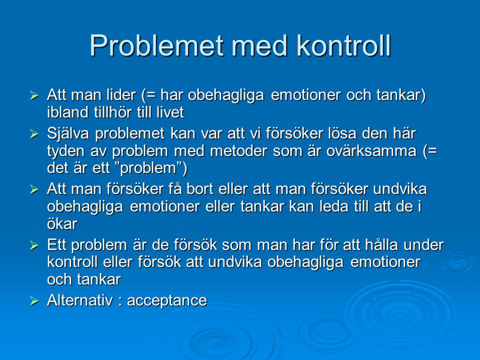 Problemet med kontroll