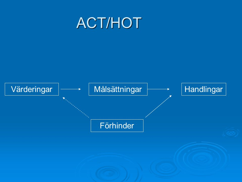ACT/HOT Värderingar Målsättningar Handlingar Förhinder