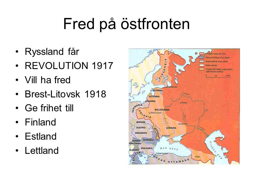 Fred på östfronten Ryssland får REVOLUTION 1917 Vill ha fred
