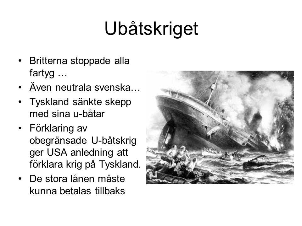 Ubåtskriget Britterna stoppade alla fartyg … Även neutrala svenska…