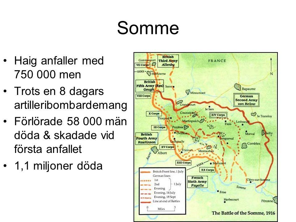 Somme Haig anfaller med 750 000 men