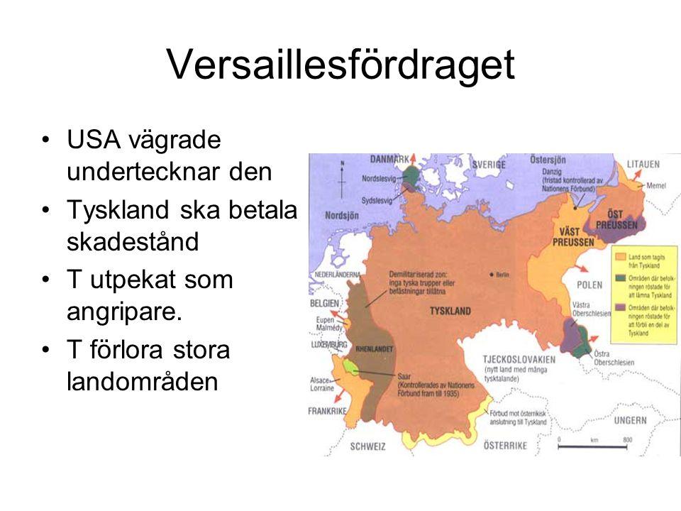Versaillesfördraget USA vägrade undertecknar den