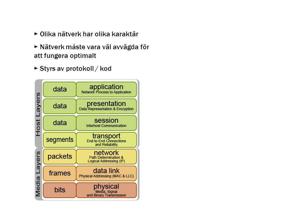 ► Olika nätverk har olika karaktär
