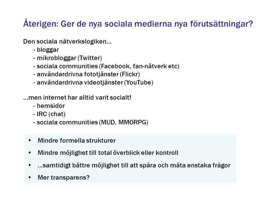 Återigen: Ger de nya sociala medierna nya förutsättningar