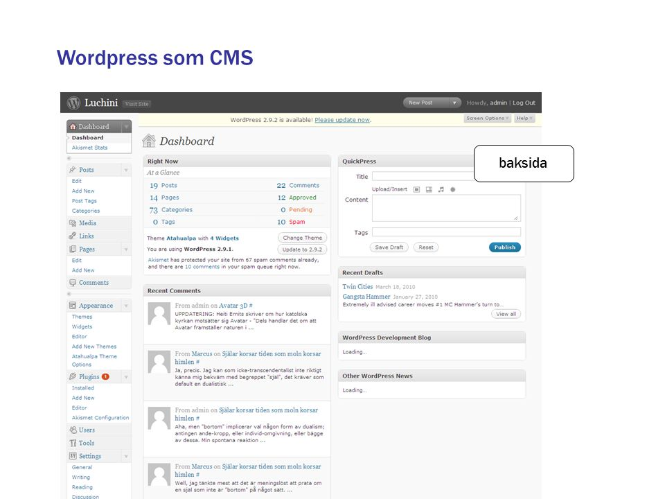 Wordpress som CMS baksida