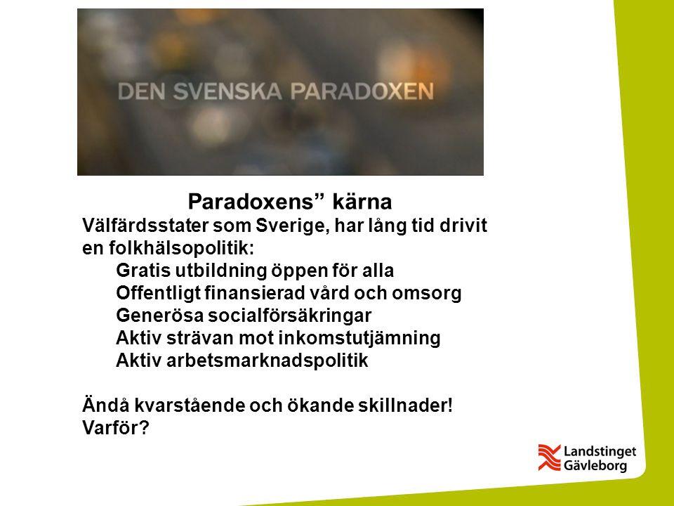 Paradoxens kärna Välfärdsstater som Sverige, har lång tid drivit en folkhälsopolitik: Gratis utbildning öppen för alla.