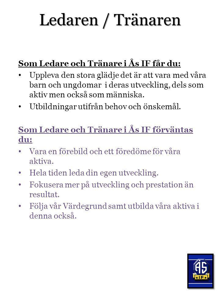 Ledaren / Tränaren Som Ledare och Tränare i Ås IF får du: