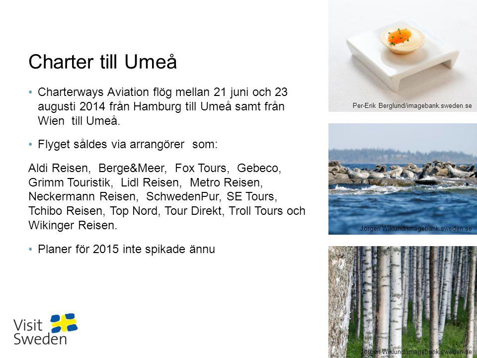 Charter till Umeå Charterways Aviation flög mellan 21 juni och 23 augusti 2014 från Hamburg till Umeå samt från Wien till Umeå.