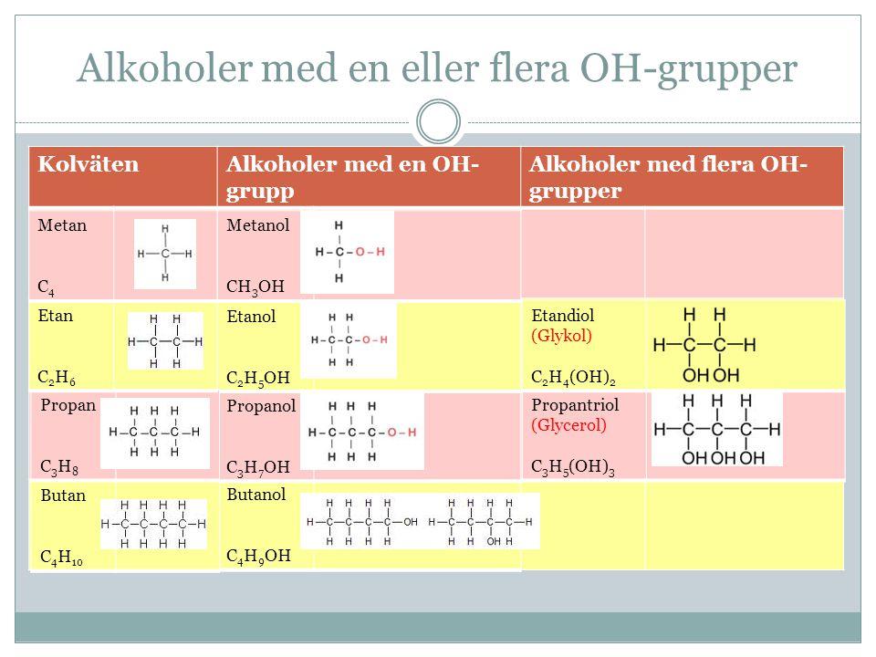 Alkoholer med en eller flera OH-grupper