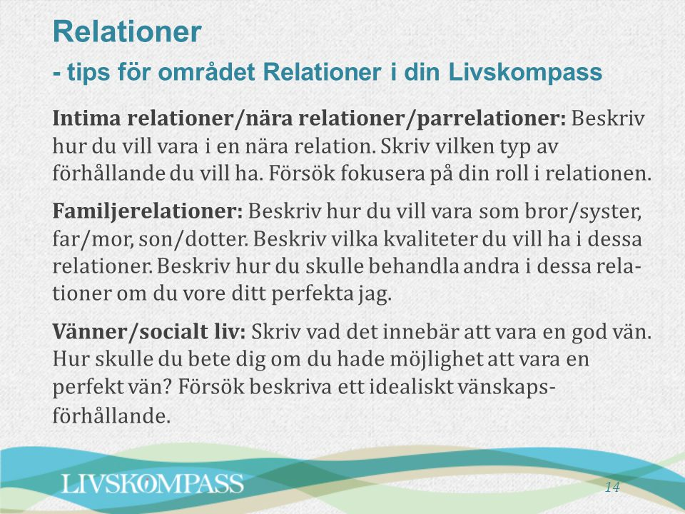 Relationer - tips för området Relationer i din Livskompass
