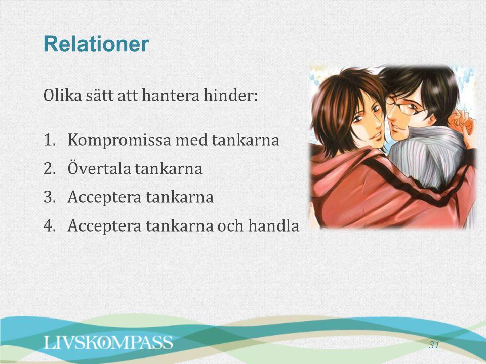 Relationer Olika sätt att hantera hinder: 1. Kompromissa med tankarna 2.
